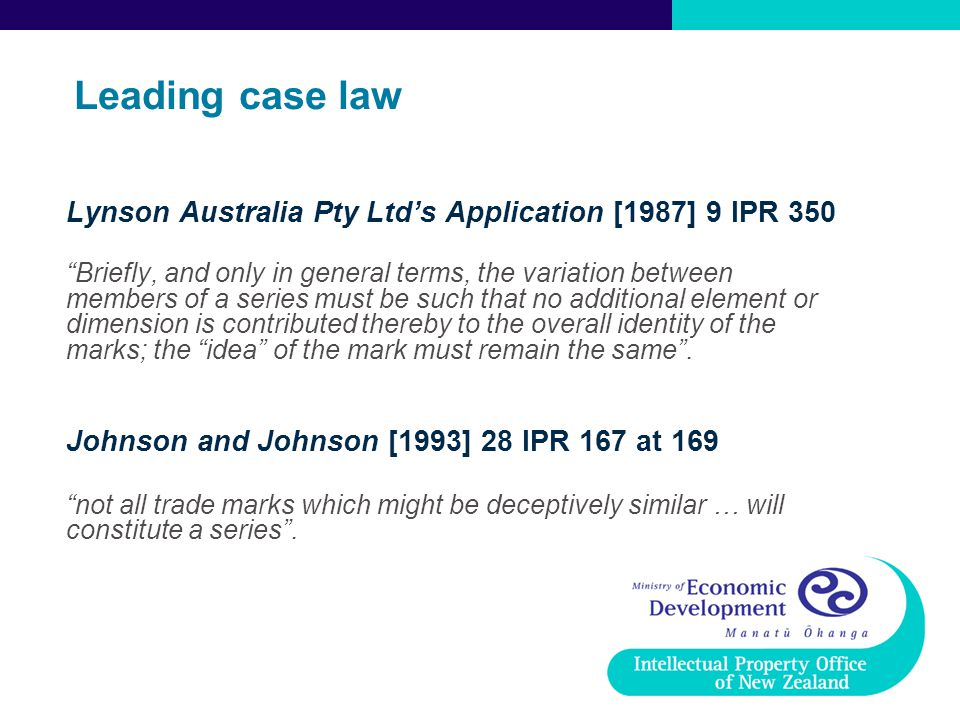 Leading case law Lynson Australia Pty Ltd's Application [1987] 9 IPR 350.